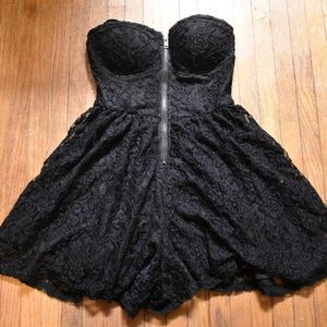 Material Girl Black Lace Strapless Romper